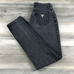 VTG Guess Black Faded High Waist Mom Jeans 27